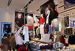 """Shoppers look at merchandise from the new Shochiku Kabuki Uniqlo project, Mar 26, 2015 : Uniqlo starts """"Shochiku Kabuki Uniqlo project"""" at Uniqlo's flagship Ginza store in Tokyo Japan on 26 Mar 2015"""