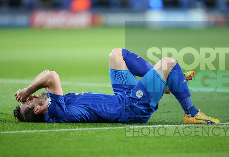 Leicester's Christian Fuchs looks on dejected during the Champions League Quarter-Final 2nd leg match at the King Power Stadium, Leicester. Picture date: April 18th, 2017. Pic credit should read: David Klein/Sportimage