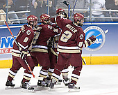 Brett Motherwell, Chris Collins, Brock Bradford, Nathan Gerbe, Anthony Aiello - The Boston College Eagles defeated the University of North Dakota Fighting Sioux 6-5 on Thursday, April 6, 2006, in the 2006 Frozen Four afternoon Semi-Final at the Bradley Center in Milwaukee, Wisconsin.