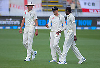 From left, England's Stuart Broad, Joe Denly and Jofra Archer during day four of the international cricket 2nd test match between NZ Black Caps and England at Seddon Park in Hamilton, New Zealand on Friday, 22 November 2019. Photo: Dave Lintott / lintottphoto.co.nz