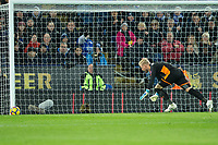 Kasper Schmeichel of Leicester City is relieved this Dele Alli of Tottenham effort went the wrong side of the postnduring the Premier League match between Leicester City and Tottenham Hotspur at the King Power Stadium, Leicester, England on 28 November 2017. Photo by James Williamson / PRiME Media Images.