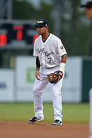Lakeland Flying Tigers second baseman Javier Betancourt (7) during a game against the Palm Beach Cardinals on April 16, 2015 at Joker Marchant Stadium in Lakeland, Florida.  Palm Beach defeated Lakeland 6-0.  (Mike Janes/Four Seam Images)
