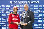 ICC World T20 Qualifier - GROUP B MATCH - Afghanistan v Oman at Heriots CC, Edinburgh - Oman's Mehran Khan is awarded Man of the match by Bob McFarlane, Board Member Cricket Scotland — credit @ICC/Donald MacLeod - 15.07.15 - 07702 319 738 -clanmacleod@btinternet.com - www.donald-macleod.com