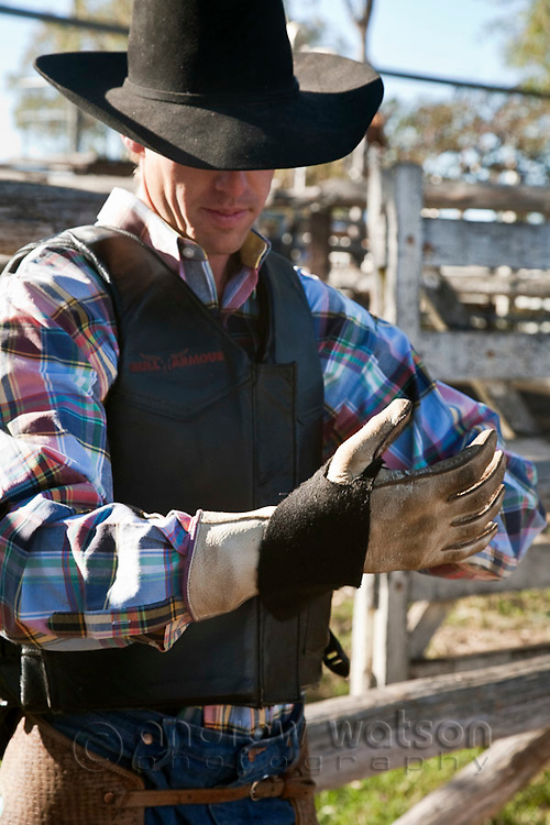 A cowboy getting ready for bull ride competition at Mareeba Rodeo, Mareeba, Queensland, Australia