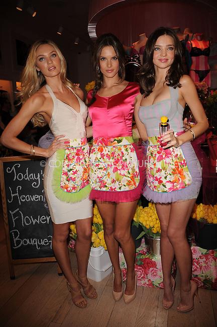 WWW.ACEPIXS.COM . . . . . ....April 24 2010, New York City....(L-R) Victoria's Secret Angels Candice Swanepoel, Alessandra Ambrosio and Miranda Kerr at the Victoria's Secret Beauty Heavenly Flowers launch at Victoria's Secret Soho on April 24, 2010 in New York City.....Please byline: KRISTIN CALLAHAN - ACEPIXS.COM.. . . . . . ..Ace Pictures, Inc:  ..(212) 243-8787 or (646) 679 0430..e-mail: picturedesk@acepixs.com..web: http://www.acepixs.com