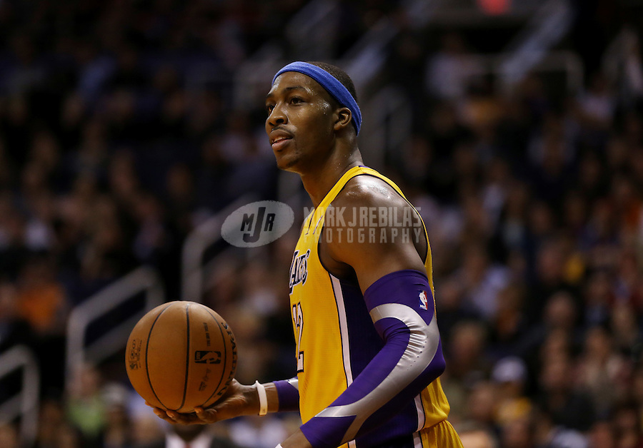 Jan. 30, 2013; Phoenix, AZ, USA: Los Angeles Lakers center Dwight Howard against the Phoenix Suns at the US Airways Center. Mandatory Credit: Mark J. Rebilas-