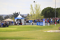 Paul Dunne (IRL) on the 1st tee during Round 3 of the Open de Espana 2018 at Centro Nacional de Golf on Saturday 14th April 2018.<br /> Picture:  Thos Caffrey / www.golffile.ie<br /> <br /> All photo usage must carry mandatory copyright credit (&copy; Golffile | Thos Caffrey)