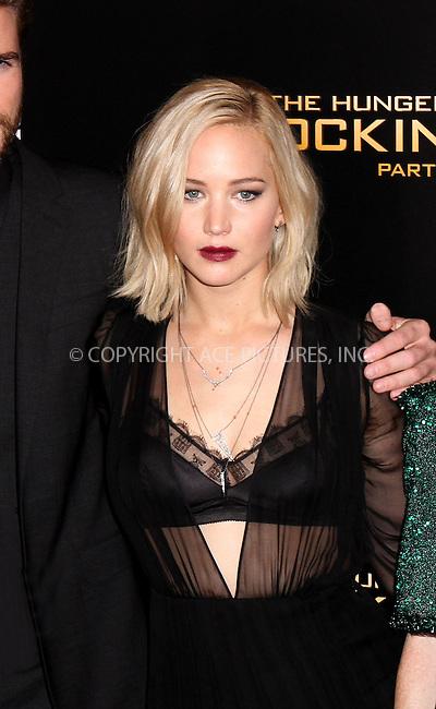 WWW.ACEPIXS.COM<br /> <br /> November 18 2015, New York City<br /> <br /> Jennifer Lawrence arriving at 'The Hunger Games: Mockingjay- Part 2' New York Premiere at AMC Loews Lincoln Square on November 18, 2015 in New York City.<br /> <br /> By Line: Nancy Rivera/ACE Pictures<br /> <br /> <br /> ACE Pictures, Inc.<br /> tel: 646 769 0430<br /> Email: info@acepixs.com<br /> www.acepixs.com