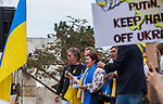 Groups of people sang songs and anthems at the Ukranian rally in Justin Herman Plaza, in San Francisco, California on Sunday, March 9th, 2014.  Photo/Victoria Sheridan