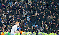 Police line up in front of the Coventry City supporters during the The Checkatrade Trophy - EFL Trophy Semi Final match between Coventry City and Wycombe Wanderers at the Ricoh Arena, Coventry, England on 7 February 2017. Photo by Andy Rowland.