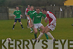 That's clever. Park FC's Mike McCannon tries to turn outside Castleisland centre half Mike McCarthy with Donnacha Ryan ready to give support in their Premiership clash at Cahermoneen on Sunday.   Copyright Kerry's Eye 2008