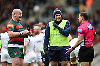 Referee Karl Dickson speaks with Dan Cole of Leicester Tigers. Gallagher Premiership match, between Leicester Tigers and Bristol Bears on April 27, 2019 at Welford Road in Leicester, England. Photo by: Patrick Khachfe / JMP
