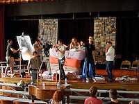 Director William J. Stribling on location for film Lies I told My Little Sister, with Lucy Walters, Princess and the Pea playhouse scene, Assistant director David Ketterer, film production still, Union NJ, Connecticut Farms Grammar School used as location