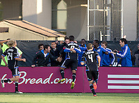 Chris Wondolowski of Earthquakes celebrates with the teammates after scoring a goal during the second half of the game against Galaxy at Buck Shaw Stadium in Santa Clara, California on October 21st, 2012.  San Jose Earthquakes and Los Angeles Galaxy tied at 2-2.