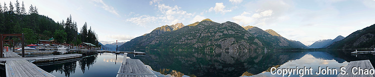 A 280-degree early morning panoramic image of Stehekin Marina, in the remote community of Stehekin, North Cascades National Park, Washington State
