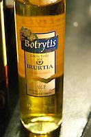 Bottle of Botrytis Cosecha Tardia Late Harvest Irurtia Partida Limitada sweet white wine made with noble rot. Catad'Or of Uruguay, Montevideo, Uruguay, South America