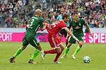 15.07.2017, Borussia Park, Moenchengladbach, GER, TELEKOM CUP 2017 Finale - SV Werder Bremen vs FC Bayern Muenchen<br /> <br /> im Bild<br /> Luca Caldirola (Werder Bremen #3) im Duell / im Zweikampf mit Thomas M&uuml;ller / Mueller (FC Bayern Muenchen #25), <br /> <br /> Foto &copy; nordphoto / Ewert
