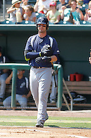 Pensacola Blue Wahoos outfielder Jesse Winker (23) in action during a game against the Jacksonville Suns at Bragan Field on the Baseball Grounds of Jacksonville on May 11, 2015 in Jacksonville, Florida. Jacksonville defeated Pensacola 5-4. (Robert Gurganus/Four Seam Images)