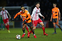 Leandro Bacuna of Reading and Tom Pett of Stevenage during Stevenage vs Reading, Emirates FA Cup Football at the Lamex Stadium on 6th January 2018
