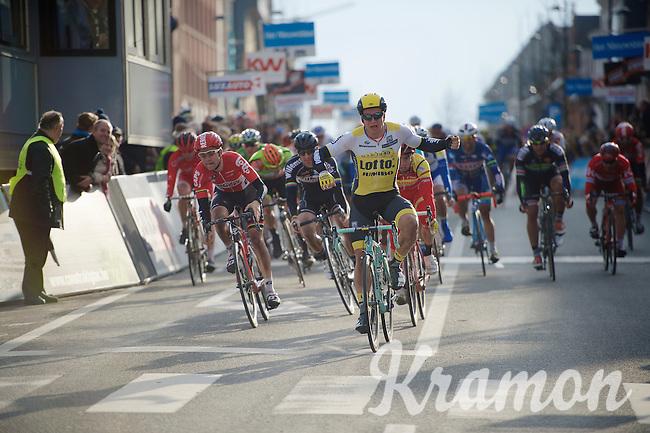 Dylan Groenewegen (NLD/LottoNL-Jumbo) winning the stage 1 bunch sprint<br /> <br /> 3-daagse van West-Vlaanderen 2016<br /> stage1: Bruges-Harelbeke 176km