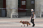 A woman walks her dog down Plaza Mayor in Madrid during the health crisis due to the Covid-19 virus pandemic - Coronaviruss. April 27,2020. (ALTERPHOTOS/Alejandro de Dios)