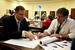 Congressman-elect Jim Bridenstine, from Oklahoma's First District, left, makes decisions about his future office, with architect Bruce Arthur, right, in the Rayburn House Office Building in Washington, DC on Nov. 30, 2012.