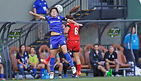 Portland, OR - Saturday July 30, 2016: Keelin Winters, Meleana Shim during a regular season National Women's Soccer League (NWSL) match between the Portland Thorns FC and Seattle Reign FC at Providence Park.