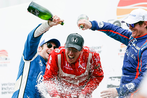 2017 Verizon IndyCar Series - Firestone Grand Prix of St. Petersburg<br /> St. Petersburg, FL USA<br /> Sunday 12 March 2017<br /> Sebastien Bourdais , Simon Pagenaud , Scott Dixon  celebrating in victory lane with champagne<br /> World Copyright:Sam Cobb/LAT Images<br /> ref: Digital Image cobb-stpete-170312-4767