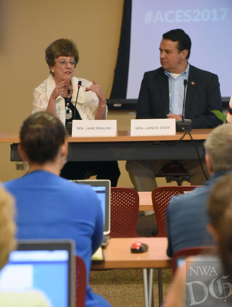 NWA Democrat-Gazette/FLIP PUTTHOFF <br /> State Sen. Jane English and State Sen. Lance Eads take part Wednesday June 21 2017 in the panel discussion with educators.