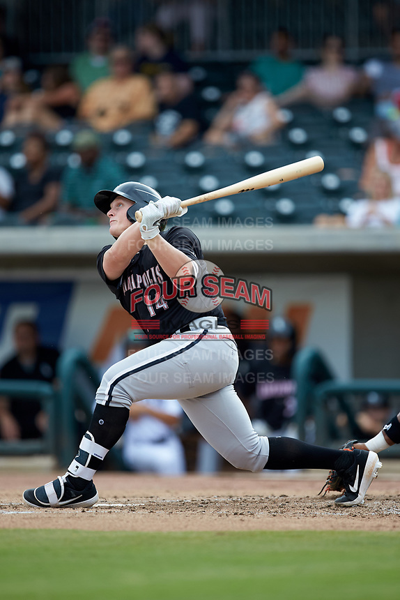 Andrew Vaughn (14) of the Kannapolis Intimidators follows through on his swing against the Augusta GreenJackets at SRG Park on July 6, 2019 in North Augusta, South Carolina. The Intimidators defeated the GreenJackets 9-5. (Brian Westerholt/Four Seam Images)