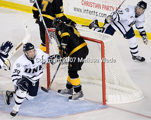 Matt Fornataro (UNH - 39), James van Riemsdyk (UNH - 21) - The University of New Hampshire Wildcats defeated the Colorado College Tigers 4-2 on Saturday, October 27, 2007, at the Whittemore Center in Durham, New Hampshire.
