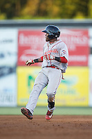 Luis Alejandro Basabe (5) of the Greenville Drive rounds second base during the game against the Kannapolis Intimidators at Intimidators Stadium on June 7, 2016 in Kannapolis, North Carolina.  The Drive defeated the Intimidators 5-2 in game two of a double header.  (Brian Westerholt/Four Seam Images)