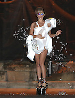 Lady Gaga in a bright white bubble machine dress - London