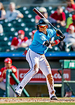 1 March 2019: Miami Marlins infielder Isan Diaz in action during a Spring Training game against the Washington Nationals at Roger Dean Stadium in Jupiter, Florida. The Nationals defeated the Marlins 5-4 in Grapefruit League play. Mandatory Credit: Ed Wolfstein Photo *** RAW (NEF) Image File Available ***
