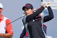 Moriya Jutanugarn (THA) watches her tee shot on 16 during Thursday's first round of the 72nd U.S. Women's Open Championship, at Trump National Golf Club, Bedminster, New Jersey. 7/13/2017.<br /> Picture: Golffile | Ken Murray<br /> <br /> <br /> All photo usage must carry mandatory copyright credit (&copy; Golffile | Ken Murray)