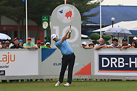 Bernd Wiesberger (Europe) on the 10th tee during the Saturday Foursomes of the Eurasia Cup at Glenmarie Golf and Country Club on the 13th January 2018.<br /> Picture:  Thos Caffrey / www.golffile.ie