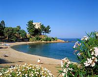 Italy, Sardinia, Santa Maria Navarrese: beach and Torre Santa Maria Navarrese