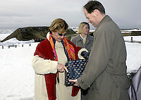 "King Harald and Queen Sonja of Norway State visit to Canada..King Harald and Queen Sonja of Norway, visit the "" L'anse-aux-Meadows ""  viking Settlement site, in Newfoundland."