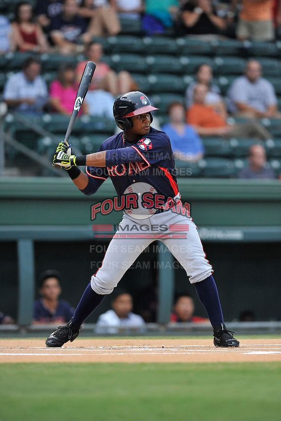 Center fielder Ronald Acuna (24) of the Rome Braves bats in a game against the Greenville Drive on Thursday, September 1, 2016, at Fluor Field at the West End in Greenville, South Carolina. Rome won, 3-2. (Tom Priddy/Four Seam Images)