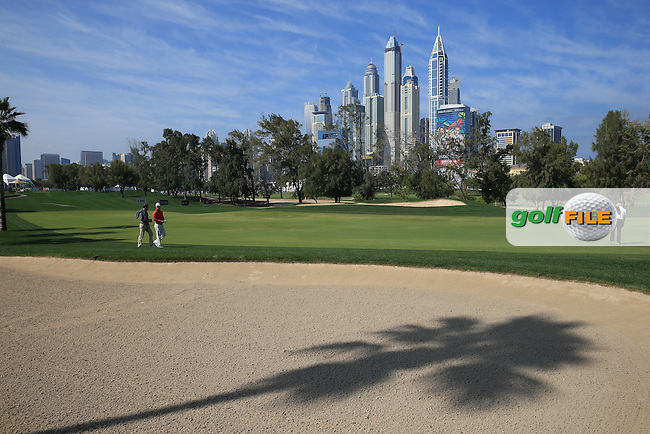 View of the 1st fairway during the Pro-Am at the 2016 Omega Dubai Desert Classic, played on the Emirates Golf Club, Dubai, United Arab Emirates.  03/02/2016. Picture: Golffile | David Lloyd<br /> <br /> All photos usage must carry mandatory copyright credit (&copy; Golffile | David Lloyd)