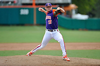 Sophomore pitcher Paul Campbell (17) of the Clemson Tigers in a fall practice intra-squad Orange-Purple scrimmage on Saturday, September 26, 2015, at Doug Kingsmore Stadium in Clemson, South Carolina. (Tom Priddy/Four Seam Images)