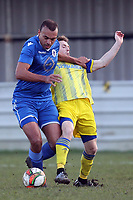 Emiel Aiken of Walthamstow and Sam Byles of Hashtag United during Walthamstow vs Hashtag United, Essex Senior League Football at Wadham Lodge Sports Ground on 30th November 2019