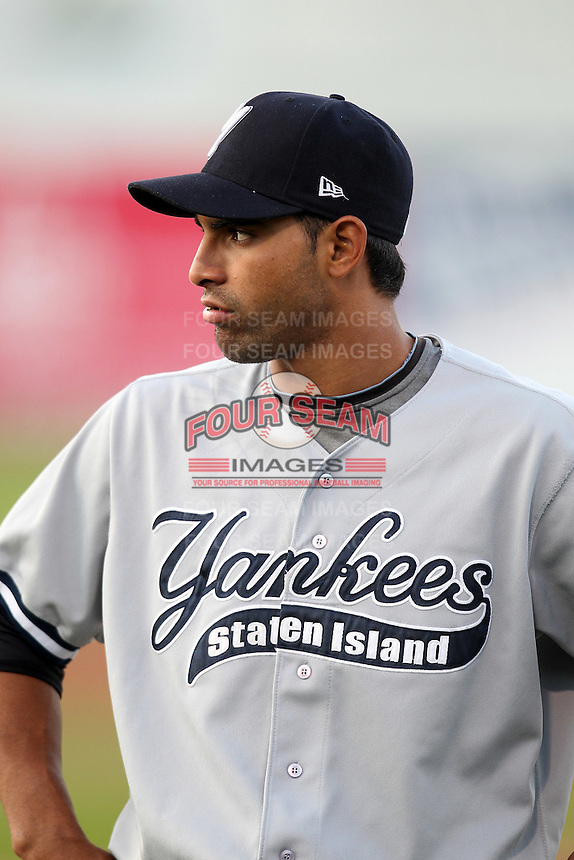 Staten Island Yankees infielder Ali Castillo #60 before game one of the NY-Penn League Championship Series against the Auburn Doubledays at Falcon Park on September 12, 2011 in Auburn, New York.  Staten Island defeated Auburn 9-2.  (Mike Janes/Four Seam Images)