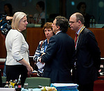 Brussels-Belgium - June 29, 2012 -- European Council, EU-summit meeting of Heads of State / Government; here, Catherine DAY (le), Secretary-General of the European Commission; Catherine ASHTON (2.le), High Representative for Foreign Affairs and Security Policy of the EU, and Vice President of the European Commission; José (Jose) Manuel BARROSO (2.ri), President of the European Commission; Johannes LAITENBERGER (ri),Head of Barroso-Cabinet -- Photo: © HorstWagner.eu