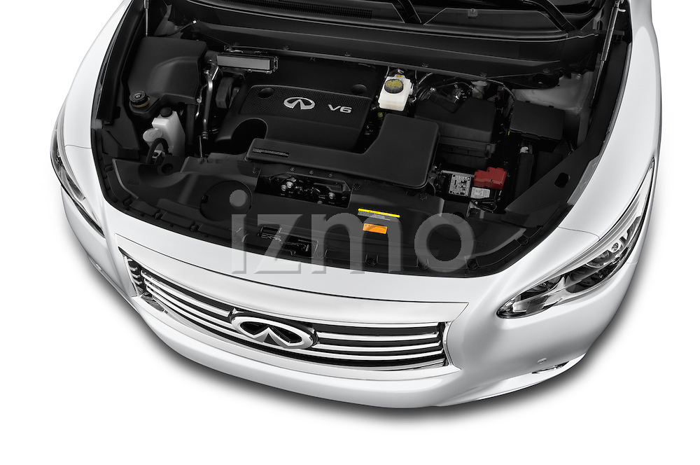 High angle engine detail of a  2014 Infiniti QX60