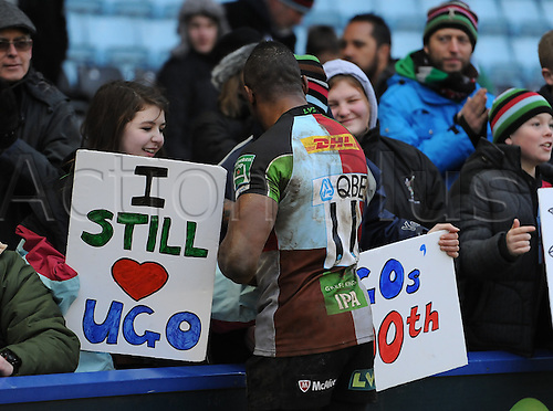 12.01.2013 London, England. Ugo Monye greets supporters after his 200th game for Harlequins in the Heineken Cup game against Connacht Rugby from The Stoop.