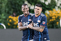 FOXBOROUGH, MA - JULY 27:  Cristian Penilla #70 and Gustavo Bou #7 celebrate Cristian goal at Gillette Stadium on July 27, 2019 in Foxborough, Massachusetts.