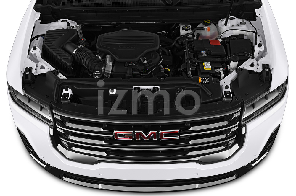 Car stock 2020 GMC Acadia AT4 5 Door SUV engine high angle detail view