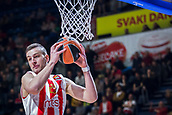 22nd March 2018, Aleksandar Nikolic Hall, Belgrade, Serbia; Turkish Airlines Euroleague Basketball, Crvena Zvezda mts Belgrade versus Fenerbahce Dogus Istanbul; Center Alan Omic of Crvena Zvezda mts Belgrade takes the ball under the basket