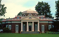 Thomas Jefferson: Monticello, west elevation.  National landmark, 1960. Photo '85.